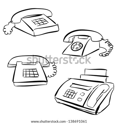 Sketch of Phones - stock vector