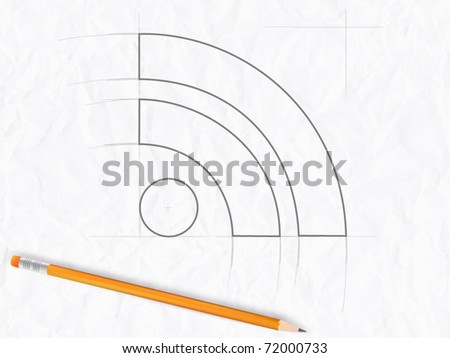 Sketch of RSS symbol with pencil