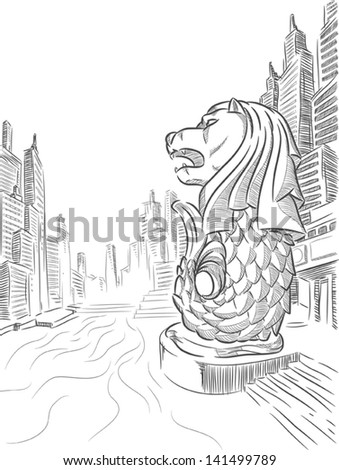 Sketch of Singapore Tourism Landmark - Merlion - stock vector