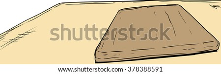 Sketch of single wooden cutting board on table with copy space