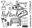 sketch of soccer football elements - stock