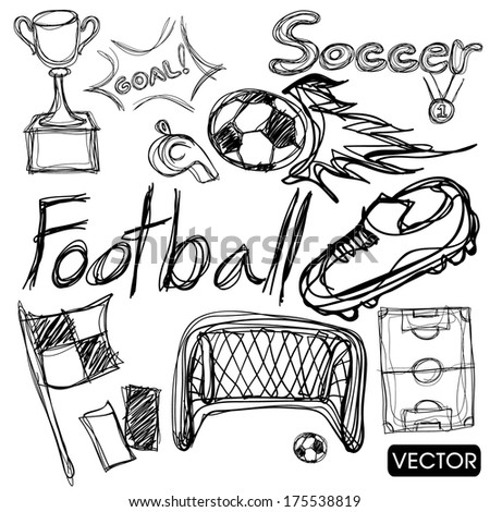 sketch of soccer football elements - stock vector
