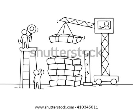 Sketch of stack of cash with working little people, crane. Doodle cute miniature of construction pile of dollars and preparing for the big profit. Hand drawn cartoon vector for business design. - stock vector