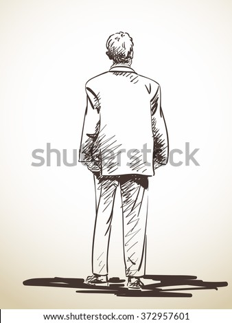 Sketch of standing man in suit from back hand drawn illustration