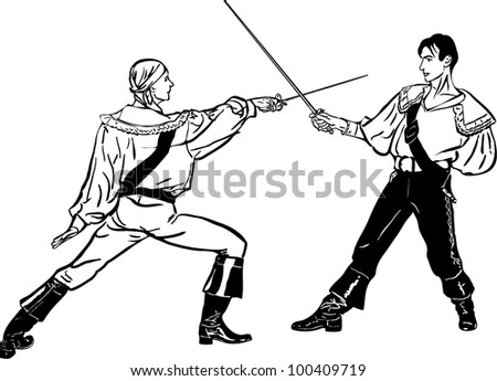 sketch of steam of fencers battle on a duel - stock vector