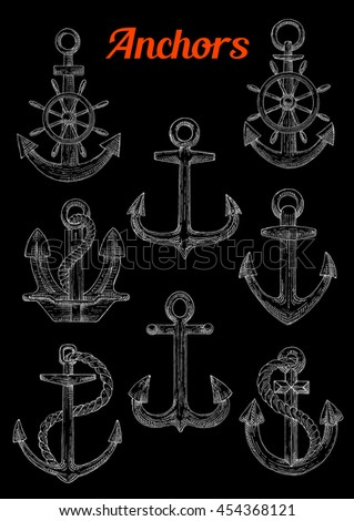 Sketch of stockless, admiralty or fisherman anchors with twined rope and steering ship's or boats wheel. Can be used as naval or nautical symbol, maritime mascot marine sport design - stock vector