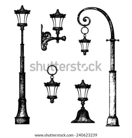 Sketch of street light, vector drawing - stock vector