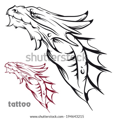 Sketch of tattoo with a dragon's head. - stock vector