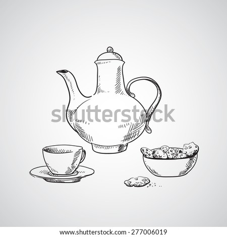 Sketch of teapot, cup of tea and  biscuits - stock vector