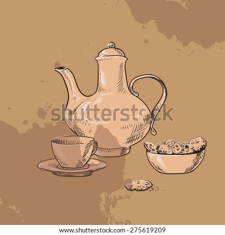 Sketch of teapot, cup of tea and  biscuits on vintage background - stock vector
