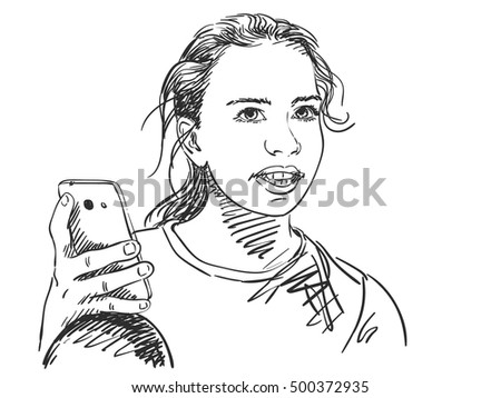Sketch of teenager girl using smart phone, Hand drawn vector illustration