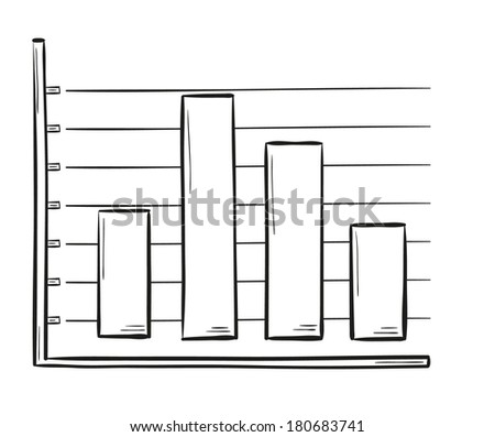 sketch of the bar chart on white background, isolated - stock vector