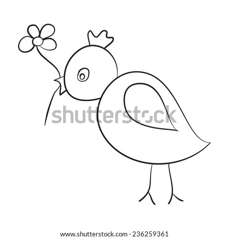 Sketch of the bird with a flower in its beak isolated on white background. - stock vector