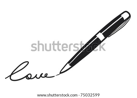 """Sketch of the black pan. A writing of a word """"love"""" - stock vector"""
