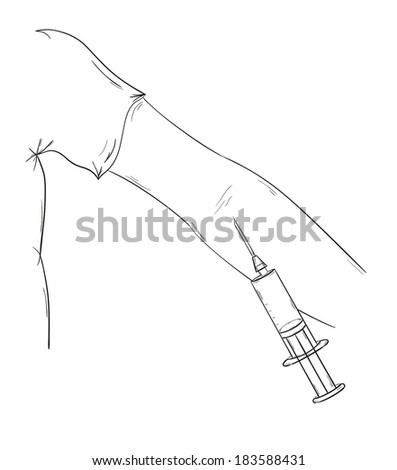 sketch of the blood collection, hand and injection, isolate - stock vector
