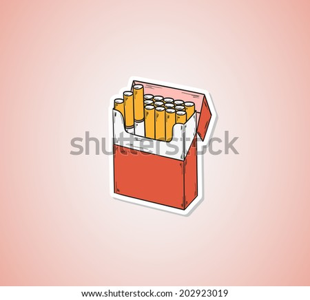sketch of the cigarettes pack on red background, vector, eps - stock vector