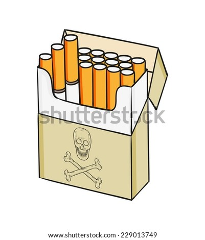 sketch of the cigarettes pack on white background, isolated - stock vector