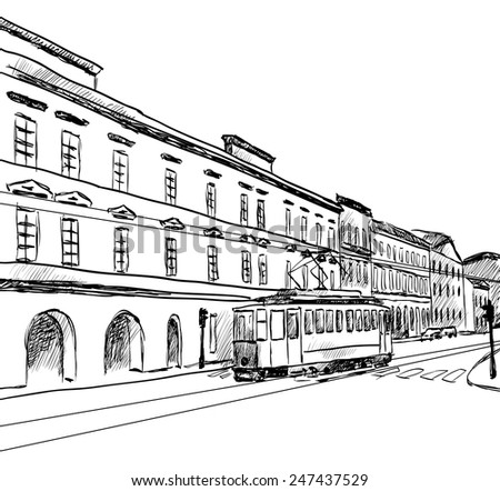 sketch of the city with tram. Vector illustration - stock vector