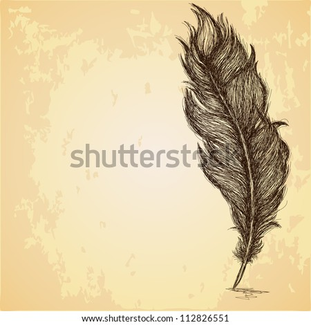 Sketch of the feather on grungy texture - stock vector