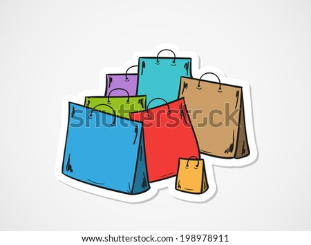 sketch of the few bags for shopping - stock vector