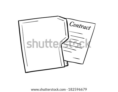 sketch of the folder with contract paper on white background, isolated - stock vector