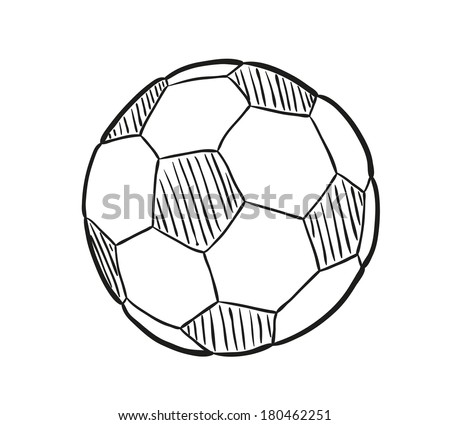 sketch of the football ball on white background, isolated - stock vector