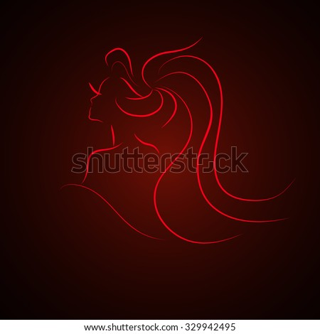 sketch of the girl, red lines, vector EPS10 - stock vector
