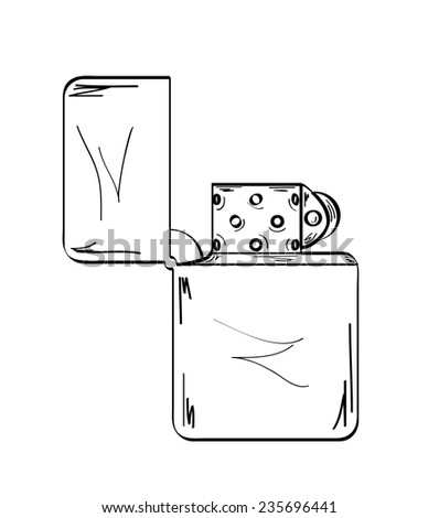 sketch of the lighter on white background, vector, isolated - stock vector