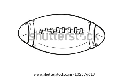 sketch of the rugby ball on white background, isolated