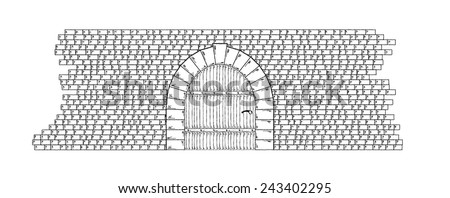 Sketch of the stone wall and door on white background, isolated - stock vector
