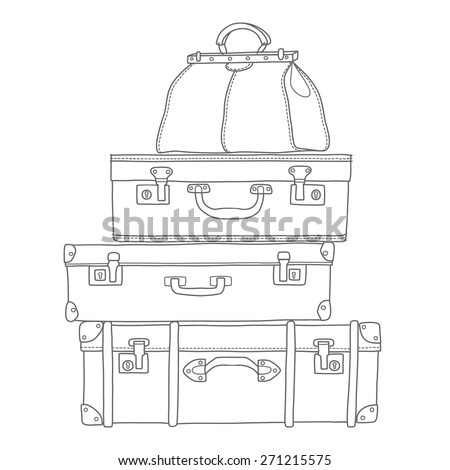 Sketch of the suitcases on white background, isolated - stock vector