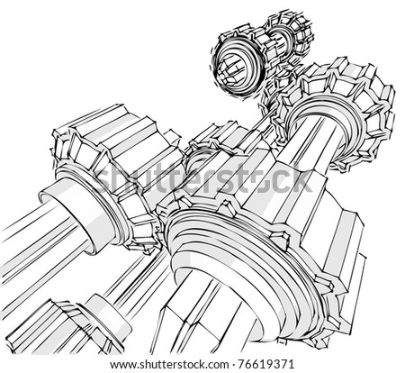 Sketch of the transmission - stock vector