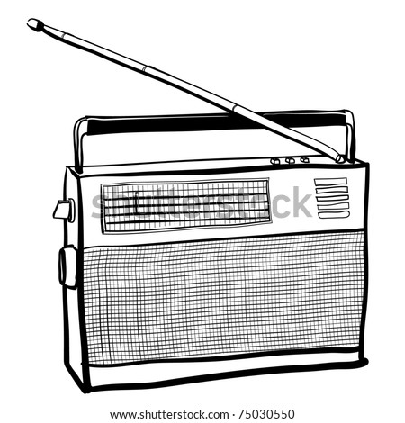 Sketch of the vintage radio receiver - stock vector