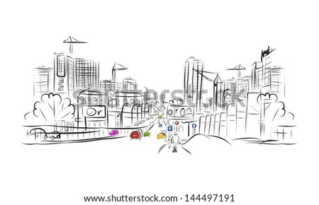 Sketch of traffic road in city for your design - stock vector