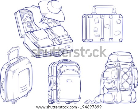 Sketch of Travel Suitcase and Bag - stock vector