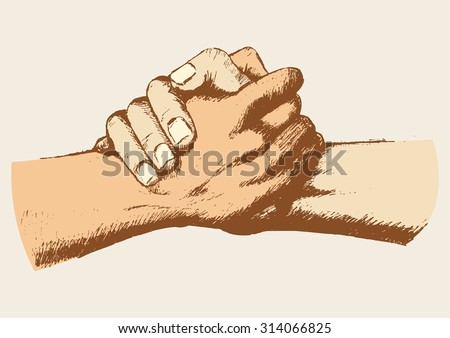 Sketch of two clasped hands - stock vector