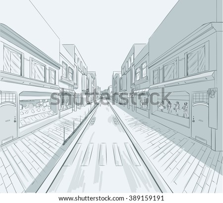 Sketch of urban panorama. Part of city district, shopping street with a lot of shops and storefronts. Minimum color. no gradient. Vector hand drawing. - stock vector