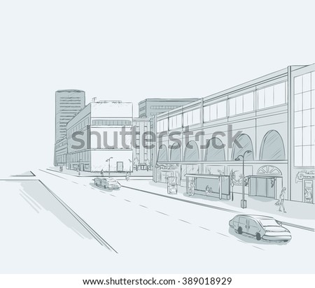 Sketch of urban panorama. Part of city district with minimum color. No gradient. Vector hand drawing. - stock vector