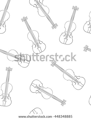 Sketch of violin . Seamless pattern . Vector