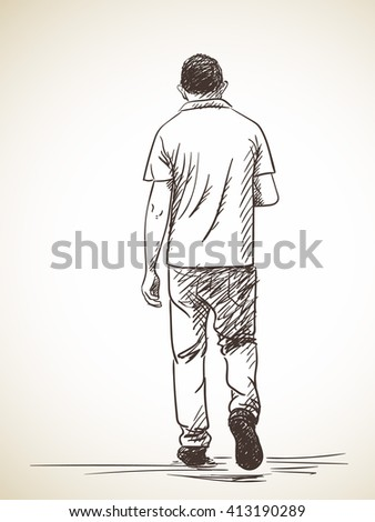 Sketch Walking Man Turned Look Back Stock Vector 364736072 ...