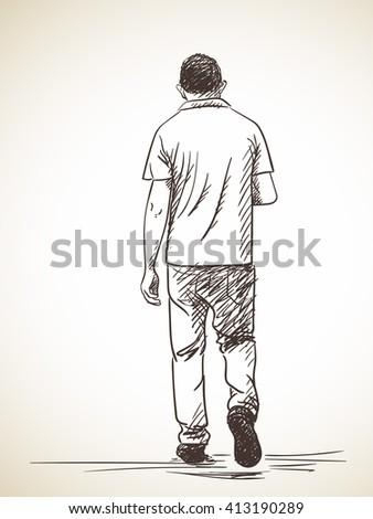 Sketch Walking Man Turned Look Back Stock Vector 364736072 ...
