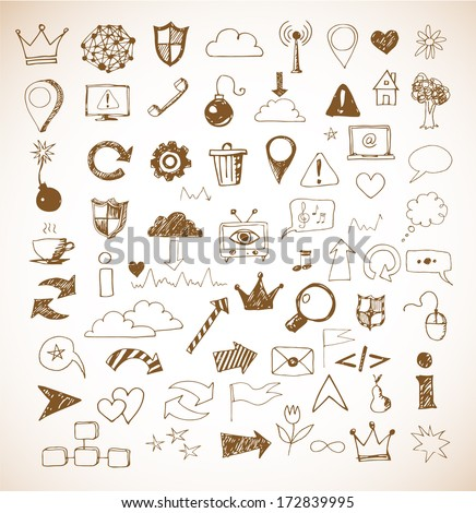 Sketch of web design icons hand drawn with pen. Vector illustration.  - stock vector