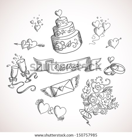 Sketch of wedding design elements. Hand drawn illustration - stock vector