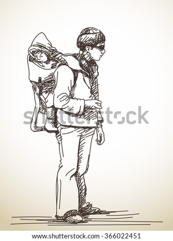 Sketch of woman carries her baby on her back , Hand drawn illustration