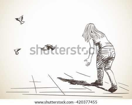 sketch of woman from back and free flying doves hand drawn illustration