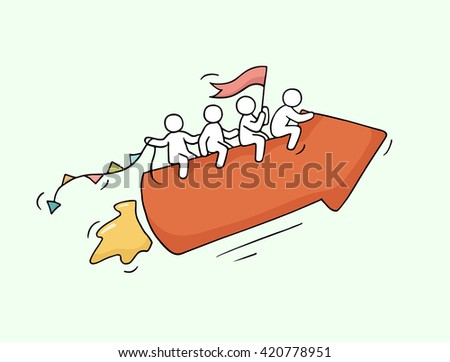 Sketch of working little people with arrow, teamwork. Doodle cute miniature scene of workers. Hand drawn cartoon vector illustration for business design. - stock vector