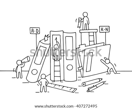 Sketch of working little people with folders, office supplies. Doodle cute miniature teamwork and workplace. Hand drawn cartoon vector illustration for business design and infographic. - stock vector