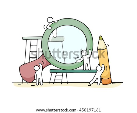 Sketch of working little people with loupe, pencil. Doodle cute miniature scene of workers. Hand drawn cartoon vector illustration for business design. - stock vector