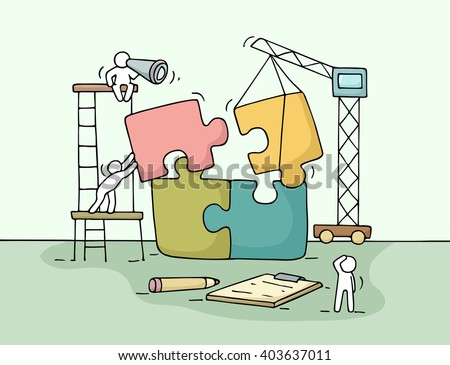 Sketch of working little people with puzzle, teamwork. Doodle cute miniature scene of workers collect puzzle pieces. Hand drawn cartoon vector illustration for business design and infographic. - stock vector
