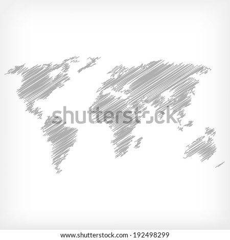 Sketch of world map - vector illustration - stock vector
